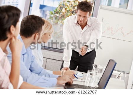 Businessman doing business presentation in meeting room.?