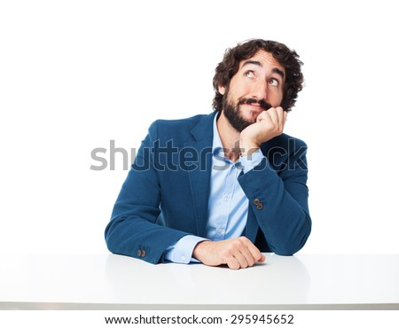 businessman doubting with laptop - stock photo