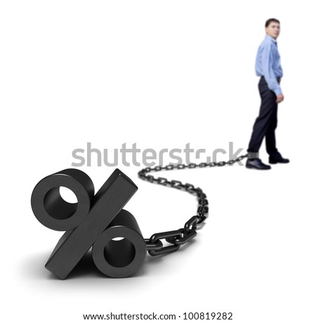 Businessman dragging a percentage sign. - stock photo
