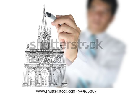 Businessman draw Christ church as an Architect - stock photo