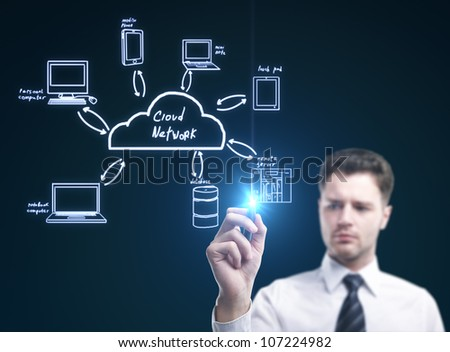 businessman draw cloud computing diagram - stock photo