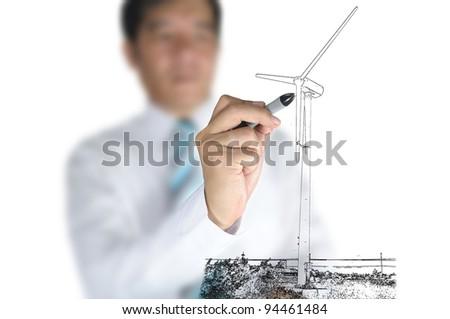 Businessman draw Turbine power generator - stock photo