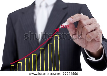 Businessman drawing a chart on whiteboard