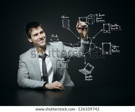 Businessman drawing a Cloud Computing diagram - stock photo