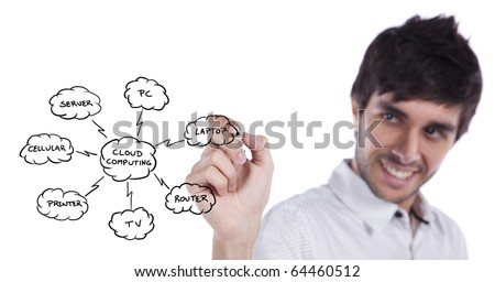 Businessman drawing a Cloud Computing schema on the whiteboard (selective focus) - stock photo