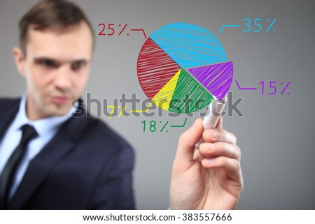 businessman drawing a colorful pie chart graph. Business, technology, internet and networking concept  - stock photo