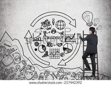 Businessman drawing a concept of business cycle.