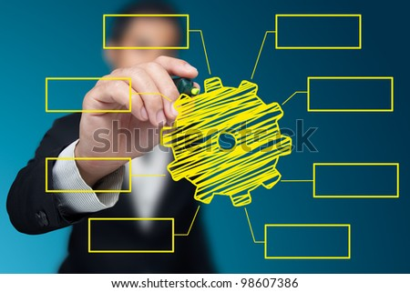 Businessman drawing a gear on the whiteboard. - stock photo
