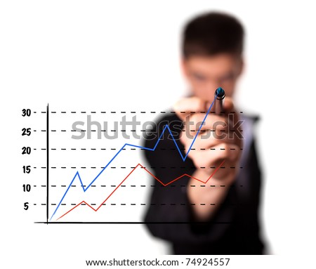 Businessman drawing a graph on a glass screen, isolated on white background. selective focus
