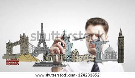 businessman drawing architectural buildings. isolated - stock photo