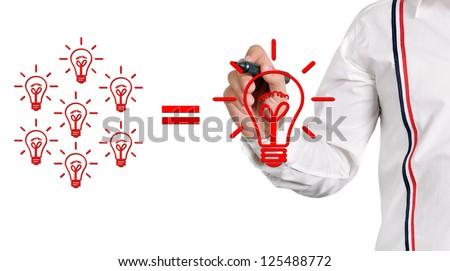 businessman drawing at lightbulb, idea concept - stock photo