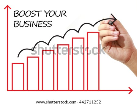 Businessman drawing BOOST YOUR BUSINESS Graph on virtual screen. Business, banking, finance and investment concept.