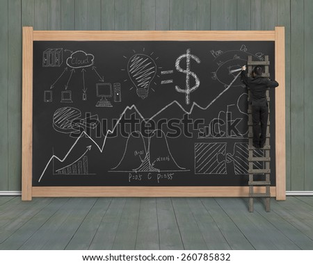 Businessman drawing business concept doodles on black chalkboard with dark green wood wall and floor background - stock photo