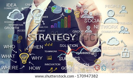 Businessman drawing business strategy concepts with chalk - stock photo