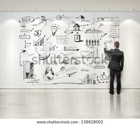 businessman drawing business strategy on the wall  - stock photo