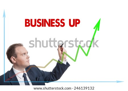 businessman drawing chart with text isolated