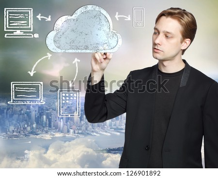 Businessman drawing cloud computing, technology connectivity concept - stock photo