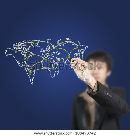 Businessman drawing connection on world map - stock photo