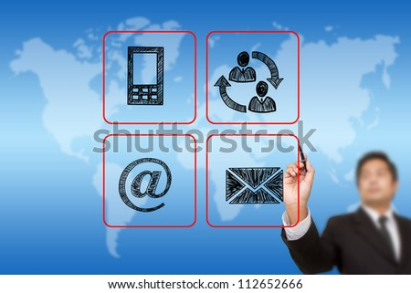 businessman drawing Contact buttons set - email, envelope,  mobile icons - stock photo