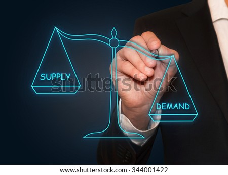 Businessman drawing Demand Supply neon scales , business concept - stock photo