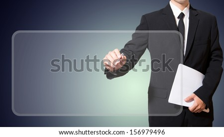 businessman drawing digital frame