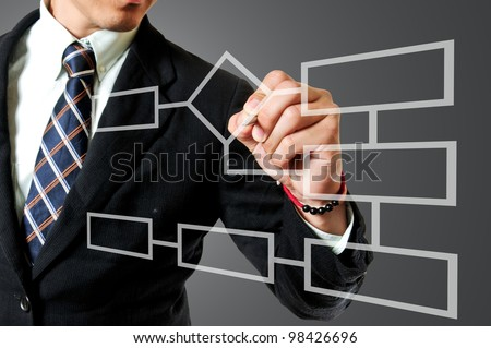 Businessman drawing Flow chart diagram for describes process step - stock photo