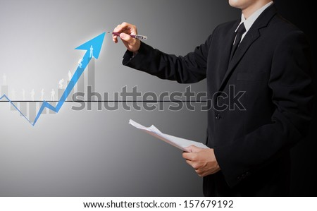 businessman drawing graph improve suggest more and success concept