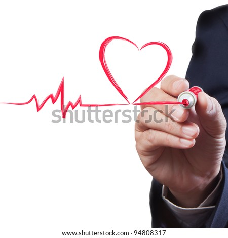 businessman drawing heart breath line, Medical concept - stock photo
