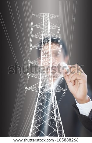 Businessman Drawing High voltage power pole line. - stock photo