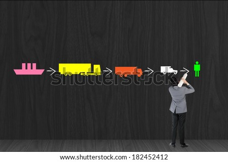 Businessman drawing logistic by vehicle transportation on black wall - stock photo