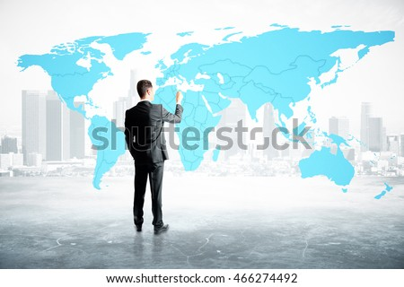 Businessman drawing map on abstract city background. 3D Rendering