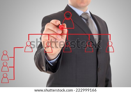 Businessman drawing organizational chart - stock photo