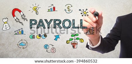 Businessman drawing Payroll concept with a marker - stock photo