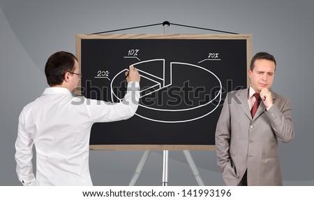 businessman drawing pie chart on blackboard - stock photo