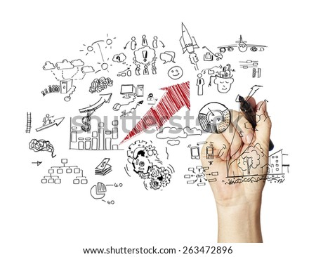 businessman drawing plan strategy success - stock photo