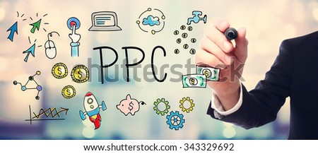 Businessman drawing PPC - Pay Per Click concept on blurred abstract background