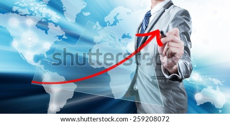 Businessman drawing red curve, business strategy concept - stock photo
