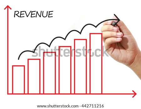 Businessman drawing REVENUE Graph on virtual screen. Business, banking, finance and investment concept.