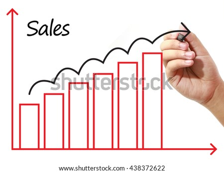 Businessman drawing Sales Growth Graph on virtual screen. Business, banking, finance and investment concept. - stock photo