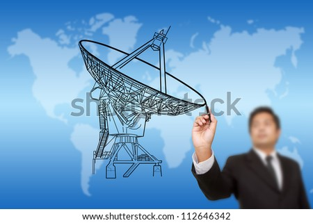Businessman Drawing Satellite dish