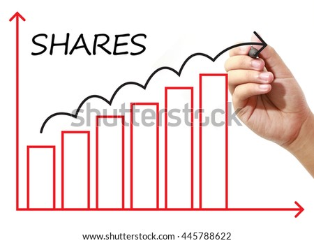 Businessman drawing SHARES Graph on virtual screen. Business, banking, finance and investment concept.