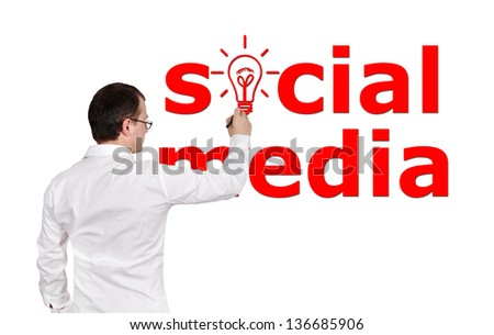 businessman drawing social media on white background