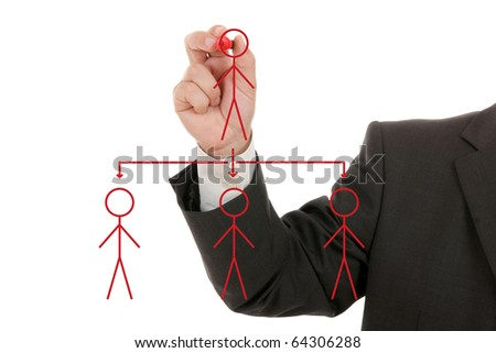 businessman drawing social network ,business concept - stock photo