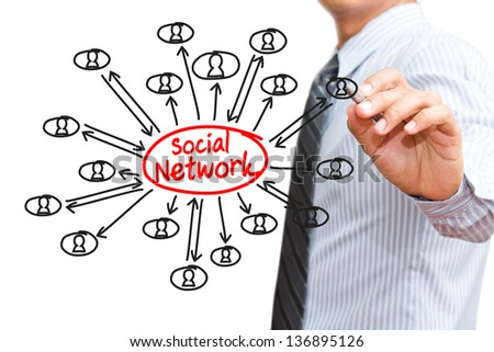 Businessman drawing social network concept