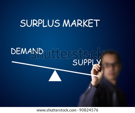 businessman drawing surplus balance of demand and supply market on lever - stock photo