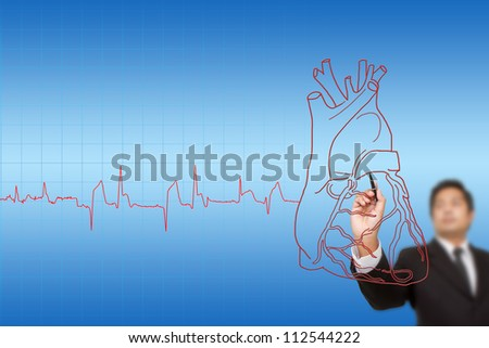 businessman drawing  the chart  heartbeat line, Medical concept