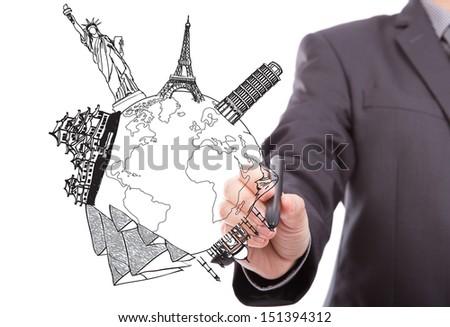 Businessman drawing  World travel (Japan,France,Italy,New York,India,egypt) - stock photo