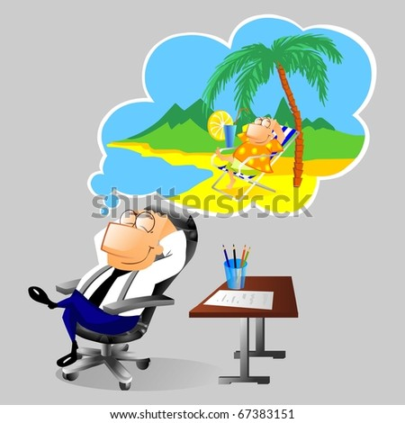 Businessman dreaming about vacation at workplace - stock photo