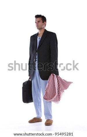 Businessman dress with nightclothes (isolated on white) - stock photo