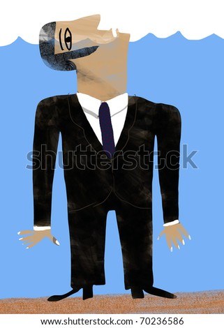 Businessman dressed in suit drowned - stock photo